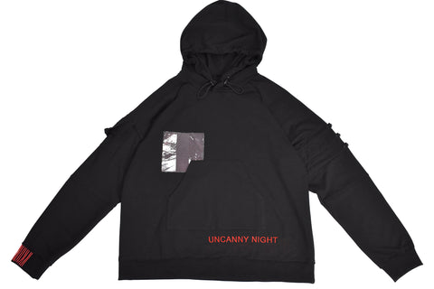 Uncanny Night Hoodie - Black RIBBED