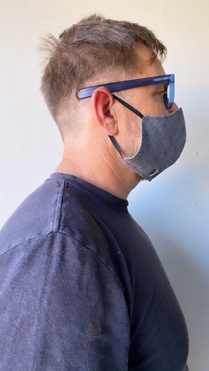 XL Adult Size Denim Fabric Face Mask with Elastic