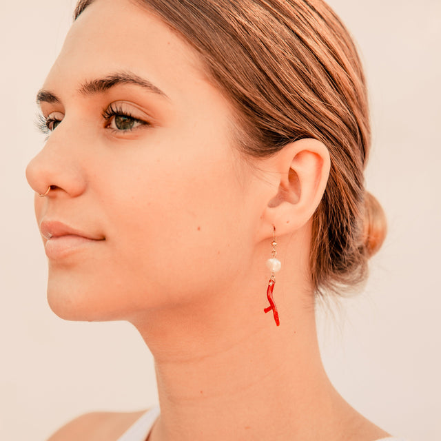 Red Coral & Freshwater Pearl Earrings