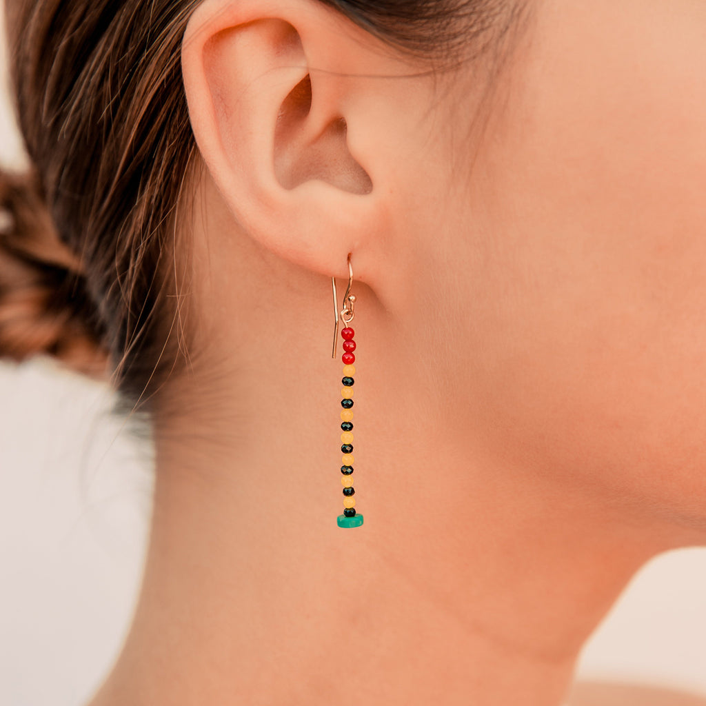 Turquoise, Coral, and Black Onyx Earrings