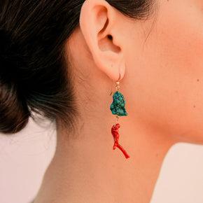 Arizona Turquoise & Vintage Coral Earrings