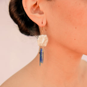 Rain Cloud Pearl and Shell Earrings