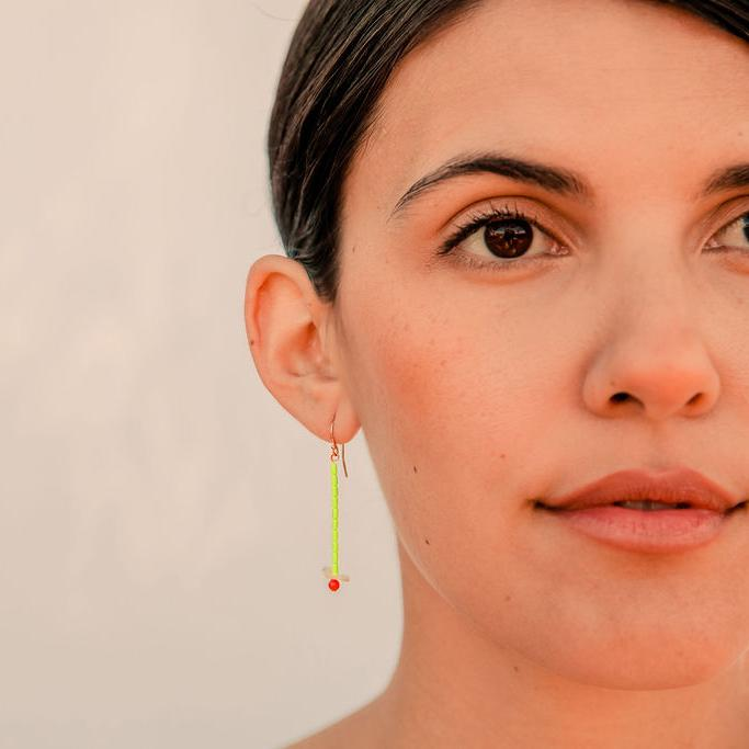 Howlite, Shell, and Coral Earrings