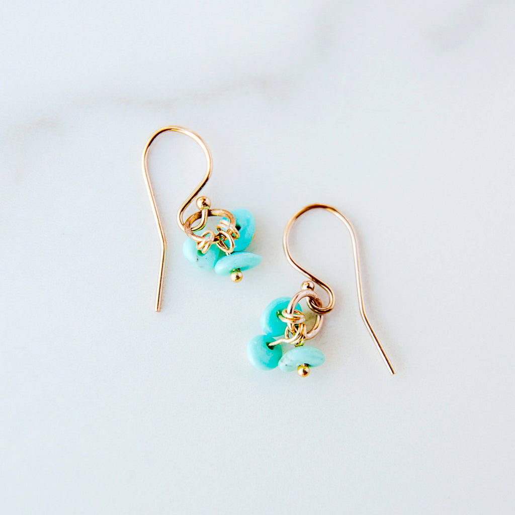 Delicate Shell Earrings in Turquoise