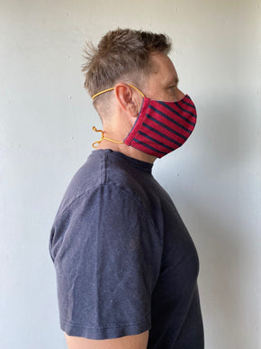 XL Adult Size Red & Navy Striped Non-Medical Fabric Face Mask