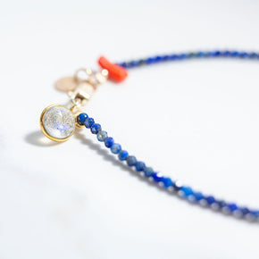 Micro Lapis Lazuli and Coral Bracelet with Moonstone Charm