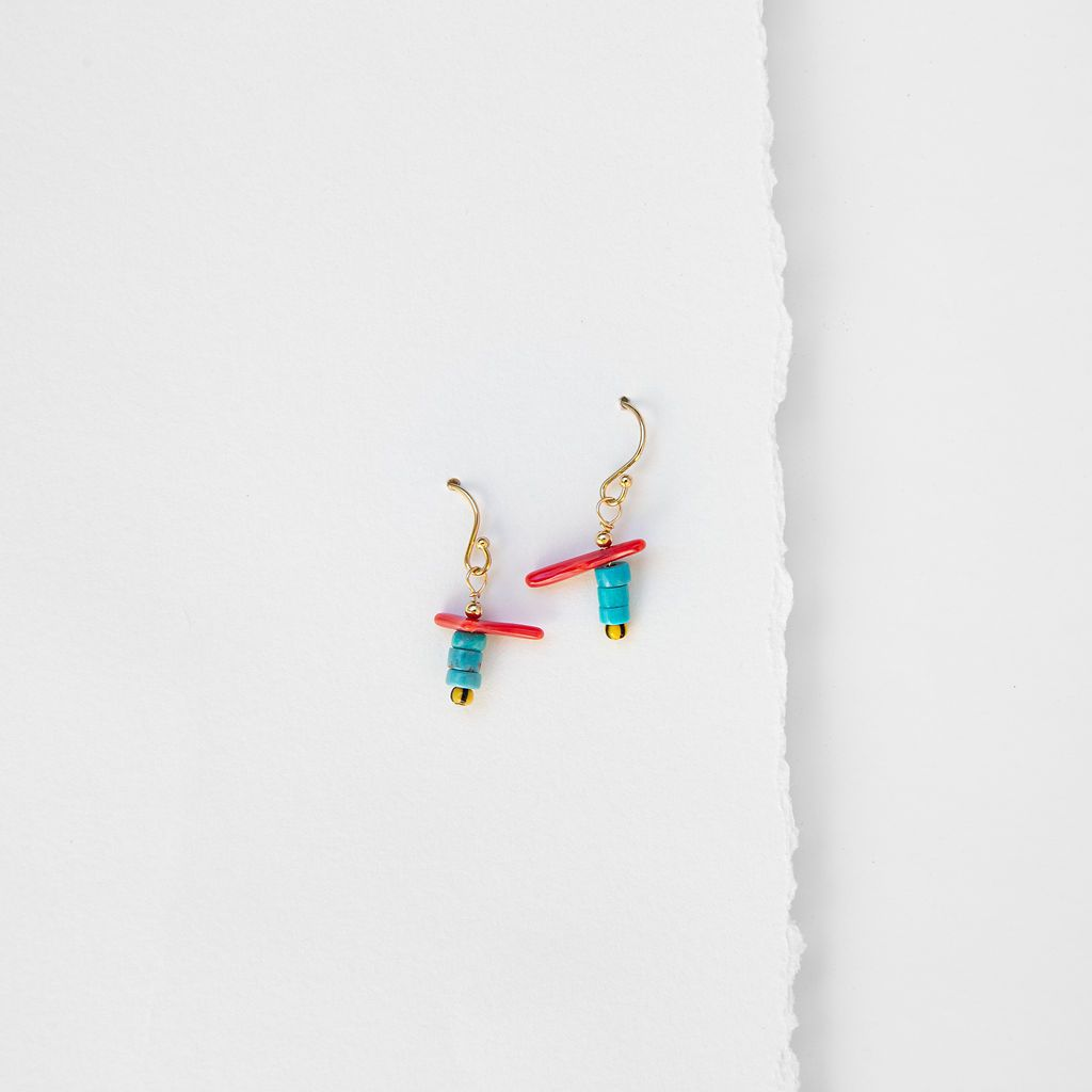 Sabi Coral & Stacked Turquoise Earrings