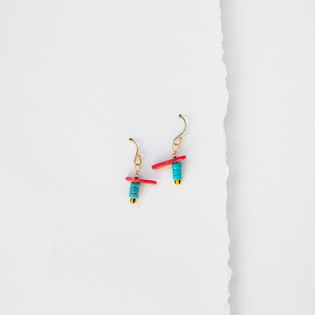 Coral & Stacked Turquoise Earrings