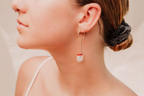 Wabi Freshwater Pearls & Coral Earrings