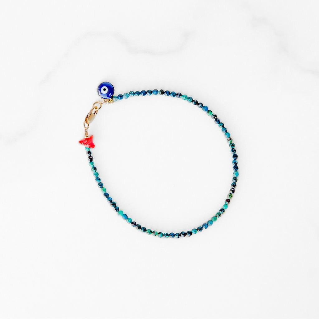 Azurite Bracelet with Evil Eye Charm
