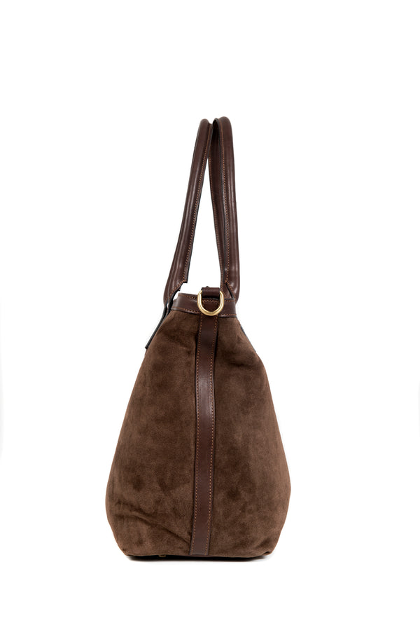 Chocolate Suede Small Tote