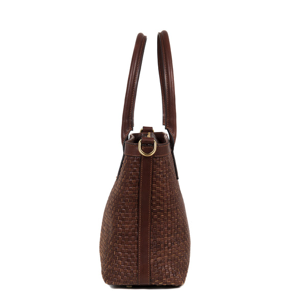 Mini Tote Woven Dark Brown