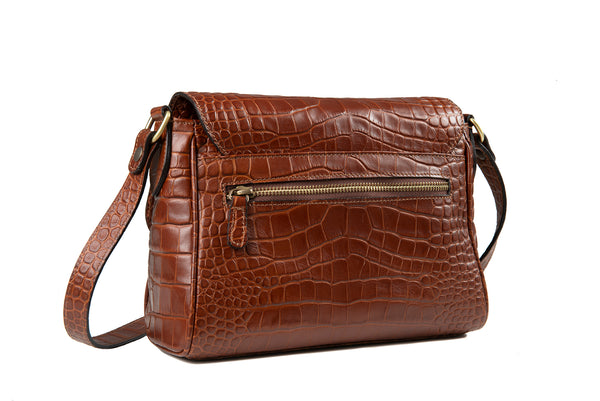 Saddle Bag Brown Matte Croc