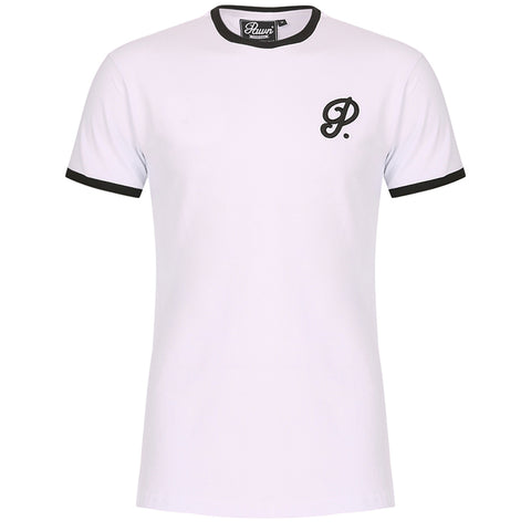 Atlanta Curved Hem Ringer White/Black
