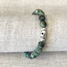 Stretchy skull bracelet with Turquoise