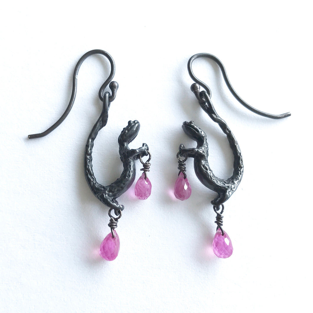 Salamander earrings with Pink Sapphire