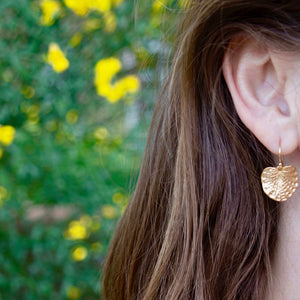 Lotus leaf earrings in 14k gold