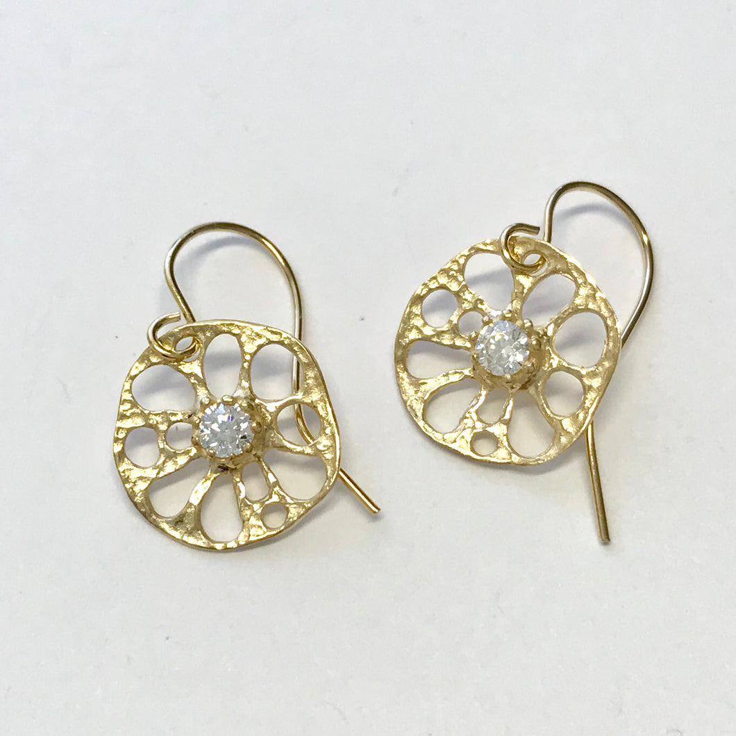 Small lotus roots earrings in 14k gold