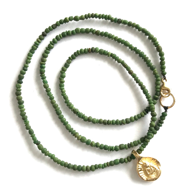 Little Buddha in 14k gold with Afghan jade