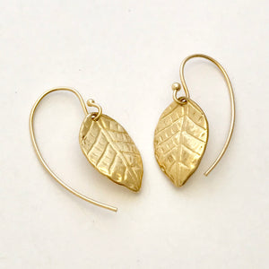 Leaf earrings in 14k