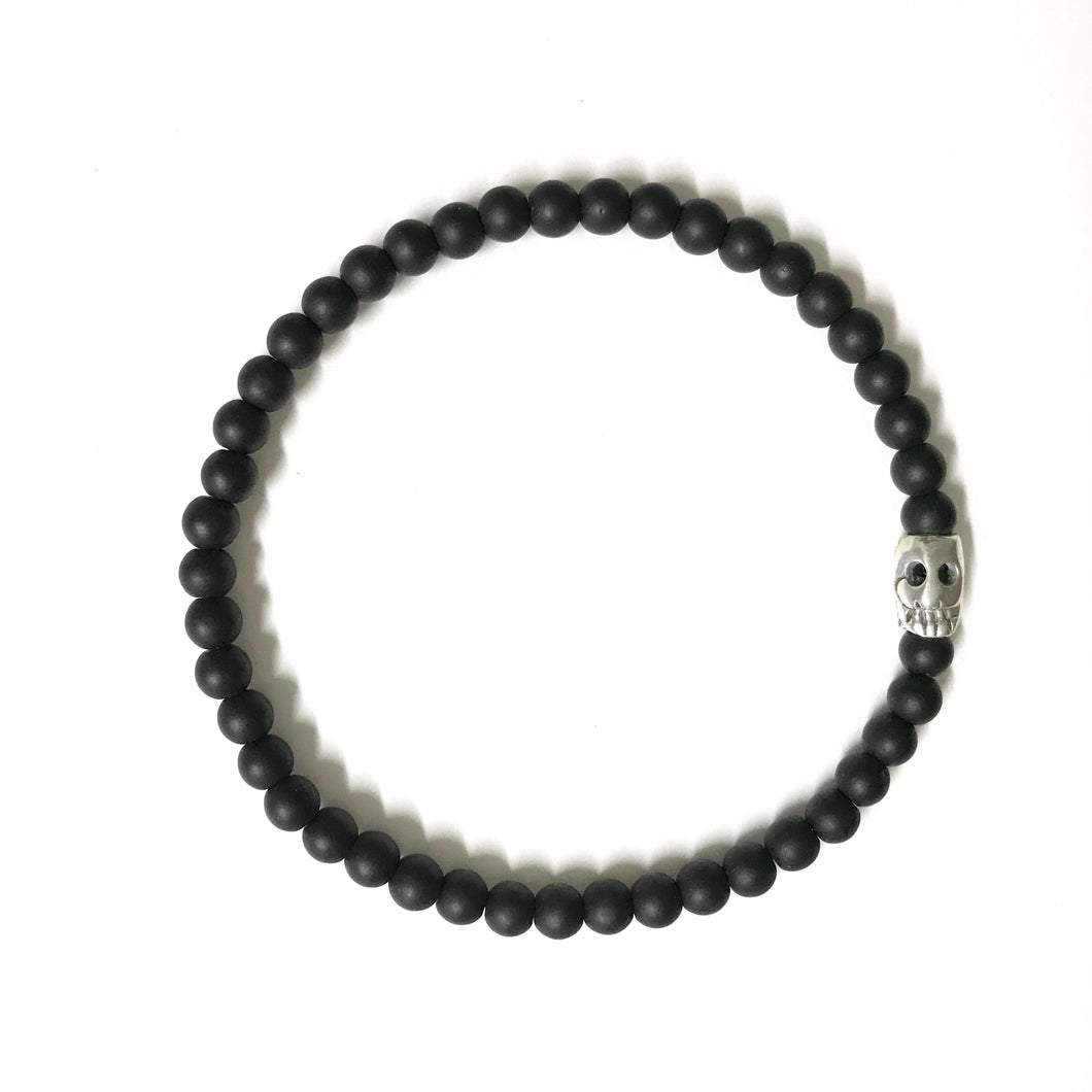 Stretchy skull bracelet with Black Onyx