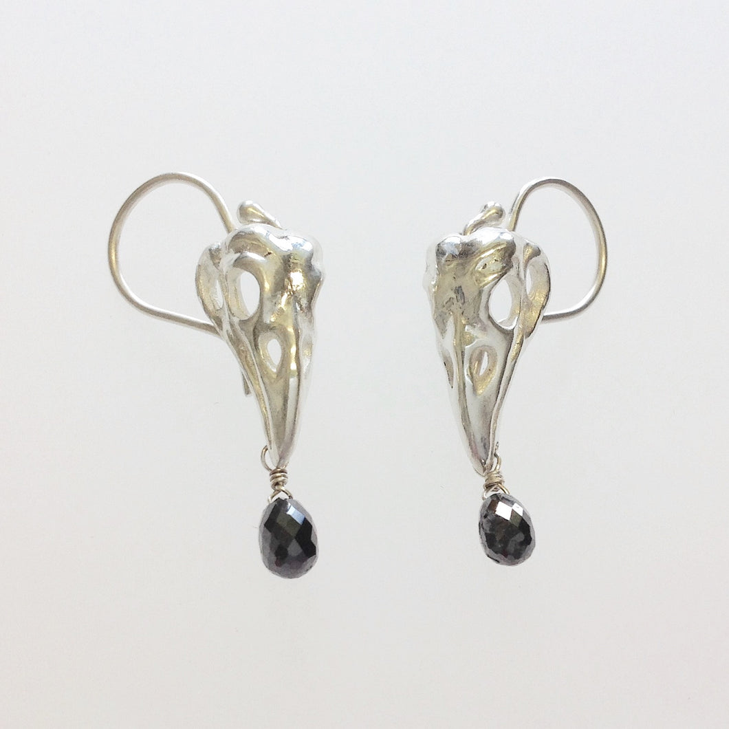 Crow skull earrings in Sterling Silver with Black Diamond