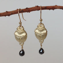 Scarab earring in 14k yellow gold with Black Diamond