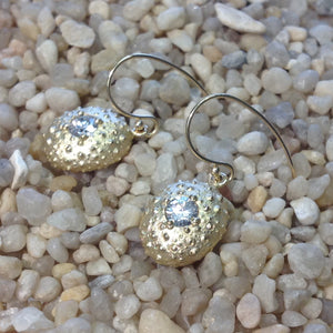 Sea urchin earrings in 14k yellow gold