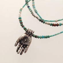 "Fear not Mudra in Sterling Silver on 16"" turquoise beads"
