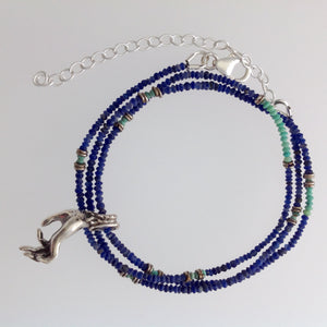 Teaching hand in Sterling Silver on Lapis and Turquoise necklace