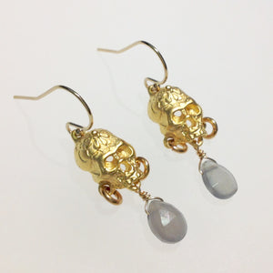 Gold plated Lucy's skull with grey moonstone