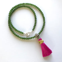 Mala necklace with skull Guru bead and 108 jade beads
