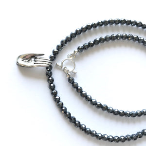 Fear not hand necklace with 108 Hematite beads