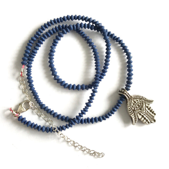 Hamsa cast in Sterling silver with Lapis beads