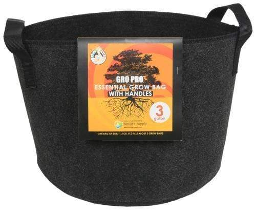 Go Pro Soils & Containers Gro Pro Essential Round Black Fabric Pot with Handles