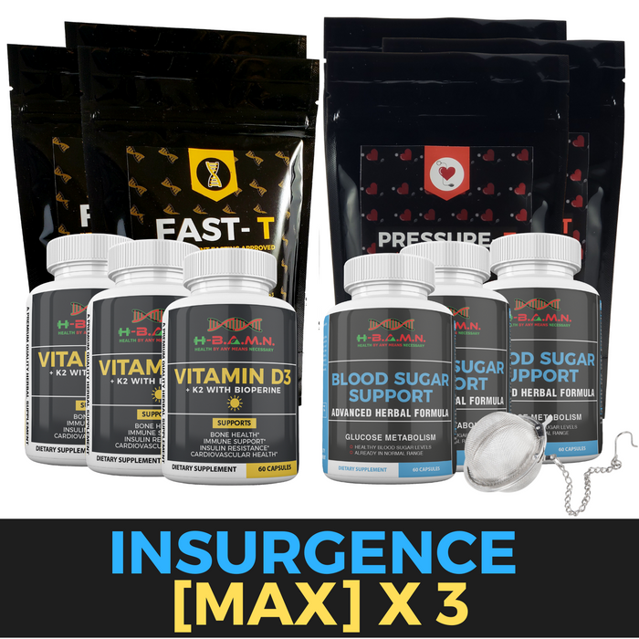 *Nubian Friday* INSURGENCE [MAX] [3 STACKS]- Blood sugar lowering Kit W/ Vitamin-D3/K2