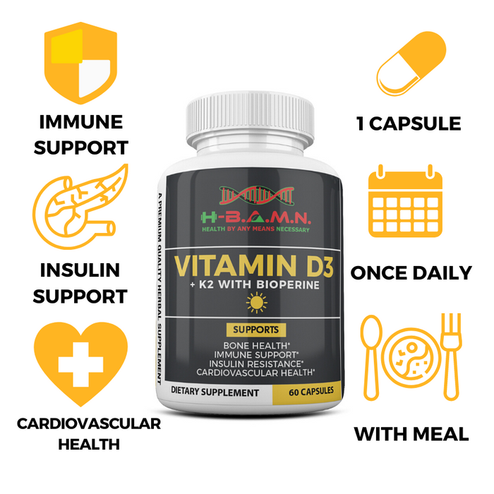 [ 12 PACK ] Vitamin-D3 & K2 5,000 IU with Bioperine