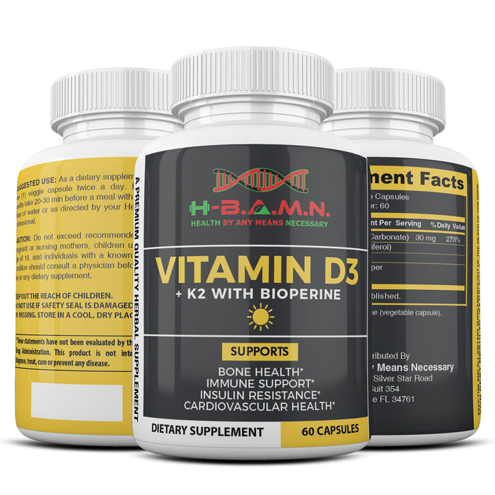 [ 6 PACK ] Vitamin-D3 & K2 5,000 IU with Bioperine