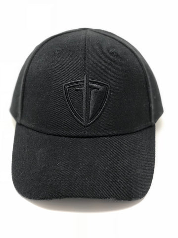 Black Tonal 3D Shield Hat