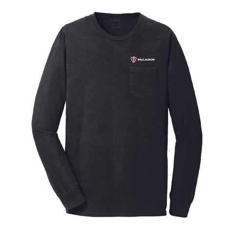 Black pigment dyed long sleeve pocket tee