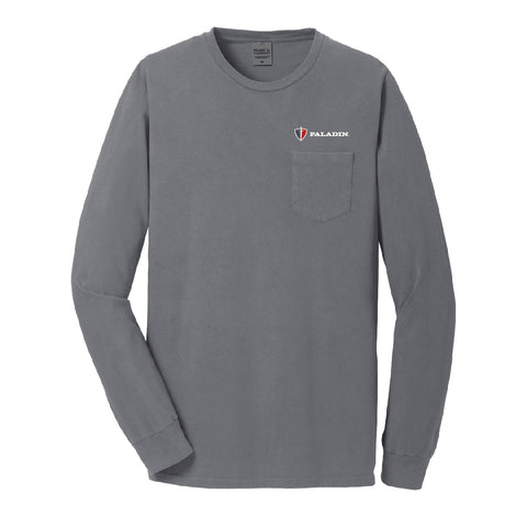 Shadow Blue (gray) pigment dyed long sleeve pocket tee