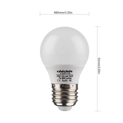 ChiChinLighting Low Voltage 12 Volt 7 Watt LED Light Bulb - E26/E27 Standard Base - Daylight White (Cool White) 6000k 7w Light Bulb – AC DC Compatible- RV, Marine LED Lights