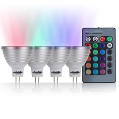 ChiChinLighting RGB LED 4-Pack Color Changing Lights Mr16 Base 12 volt, 4 Color Changing led bulb controlled by one wireless controller, Great Remote control and RGB led bulbs