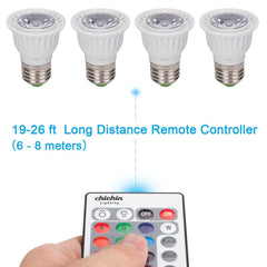ChiChinLighting RGB Par Light Par16 Color Changing LED Bulbs E26 RGB Bulb with Long distance Remote controller Pack of 4 RGB LED Bulbs