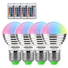 ChiChinLighting Color Changing LED Bulbs with Remote Control 4 Pieces 3w RGB Light Bulbs E26 E27