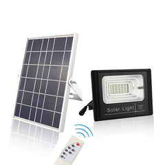 ChiChinLighting Solar Flood Light Dusk to Dawn Sensor 800 Lumen IP67 Waterproof with Solar Panel and Remote Control Full Light All Night Power Spotlight - Off Grid Cabin - Lawn - Sports Court
