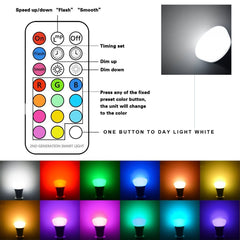 Chichinlighting RGBW 10w A19 LED Bulbs - Timing Remote Controller - Color Changing 10 Watt LED Bulbs - Double Memory - Wall Switch Control – Daylight White and Color (Pack of 2)