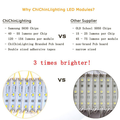 ChiChinLighting® Purple 100pcs (20pcs x 5packs) Samsung 5630 SMD 3p LED Module Waterproof Super Bright LED Modules Sign LED Light 12V Purple LED Strips