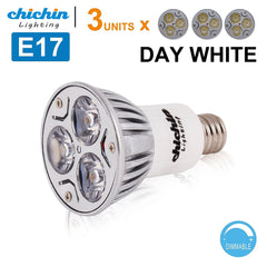 ChiChinLighting 3-Pack E17 Bulb E17 Type R Reflector R14 LED Bulb 3x3w Spotlight E17 LED Dimmable 30 Degree Lighting Cool White