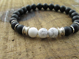 Onyx and Howlite Men's Bracelet